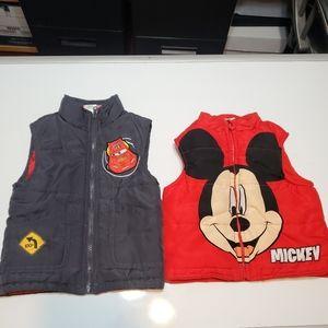 BUNDLE DISNEY Toddler Boys Mickey Cars Jacket Vest